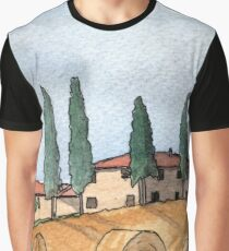 Villa in Tuscany - Watercolor Pen and Wash Graphic T-Shirt