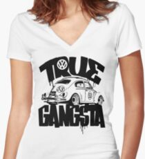 TRUE GANGSTA Women's Fitted V-Neck T-Shirt