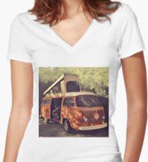 Orange Vintage VW Westfalia Camping Women's Fitted V-Neck T-Shirt