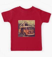 Orange Vintage VW Westfalia Camping Kids Tee