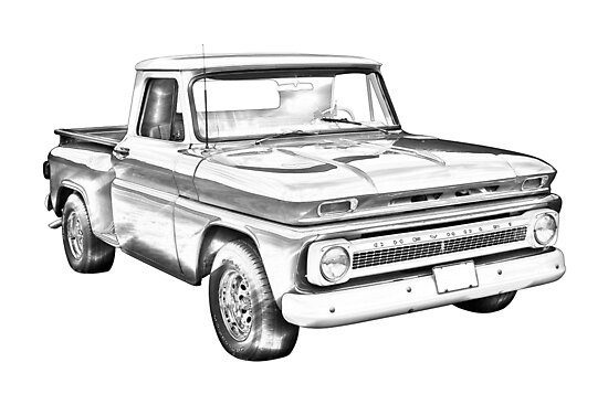 u0026quot 1965 chevrolet pickup truck illustration u0026quot  photographic prints by kwjphotoart
