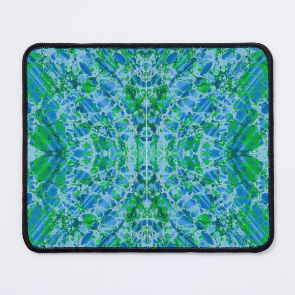 Green and blue marbled mirrored pattern Mouse Pad
