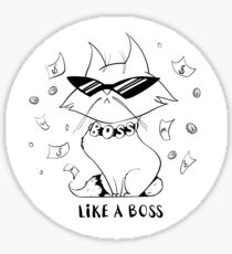 Funny cartoon cat with glasses under the rain of money. Like a boss. Sticker