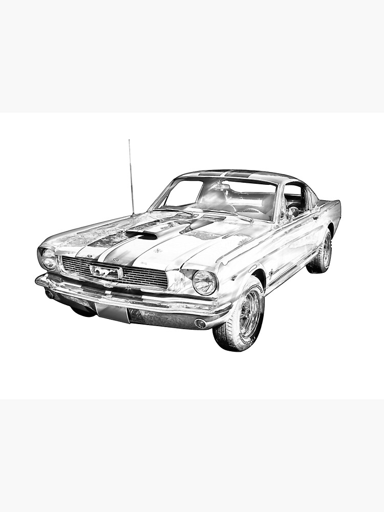 1966 Ford Mustang Fastback Illustration Photographic Print By