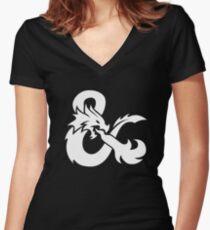 DND White Logo Women's Fitted V-Neck T-Shirt