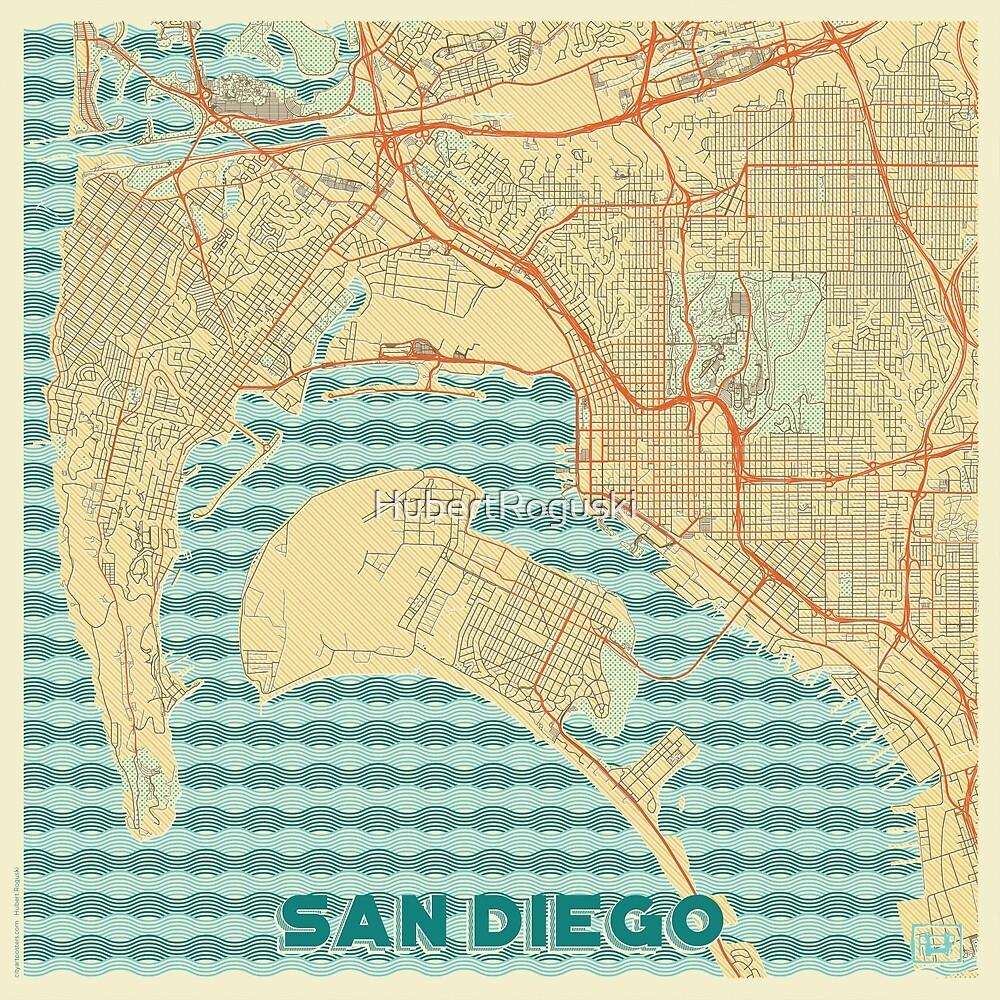 San Diego Map Retro by HubertRoguski