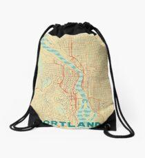 Portland Map Retro Drawstring Bag