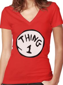 thing 1 - thing 1 and thing 2 Women's Fitted V-Neck T-Shirt