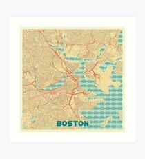 Boston Map Retro Art Print