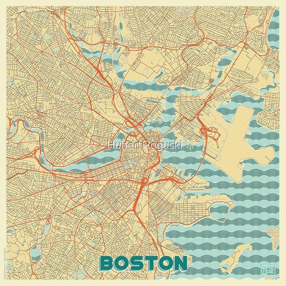 Boston Map Retro by HubertRoguski