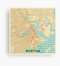 Boston Karte Retro Metalldruck