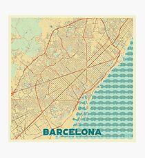 Barcelona Map Retro Photographic Print