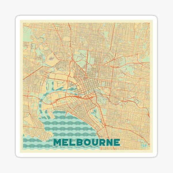 Melbourne Map Retro Sticker