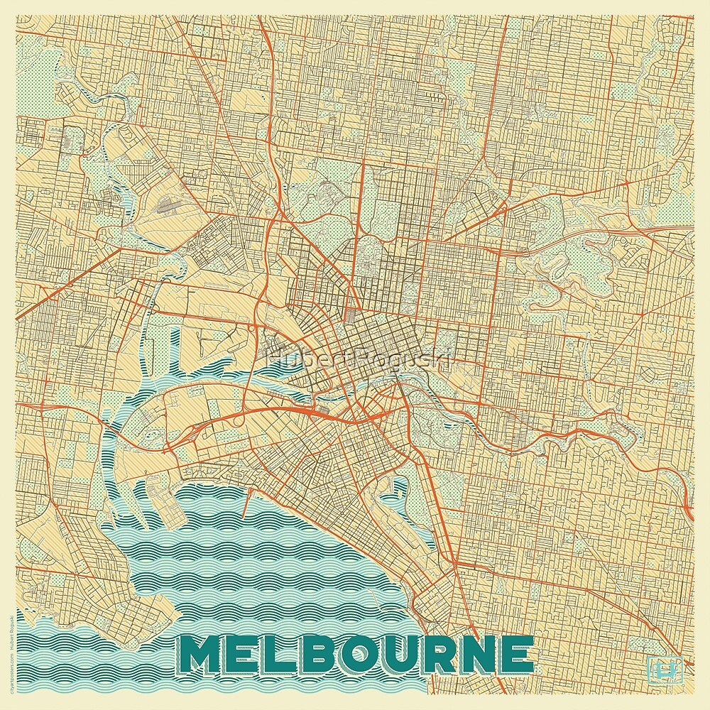 Melbourne Map Retro by HubertRoguski