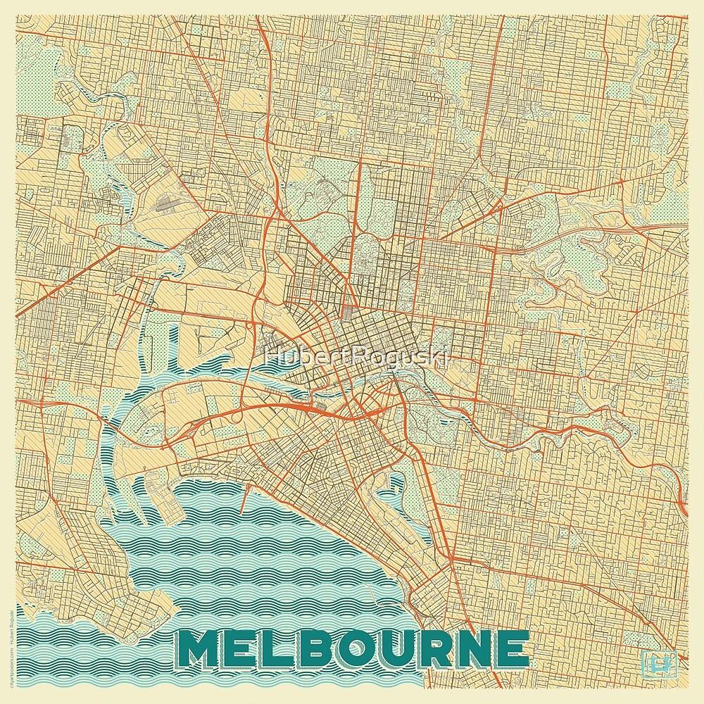 Melbourne Map Retro by HubertRoguski