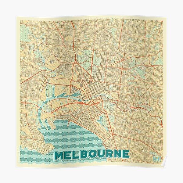 Melbourne Map Retro Poster