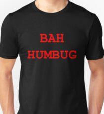 """Christmas """"Bah Humbug"""" - Red and Black Design T-Shirt"""