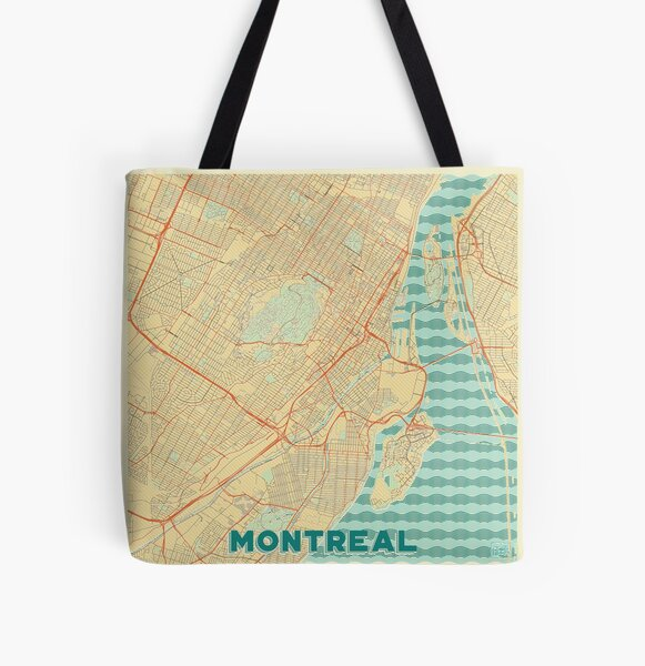 Montreal Map Retro All Over Print Tote Bag
