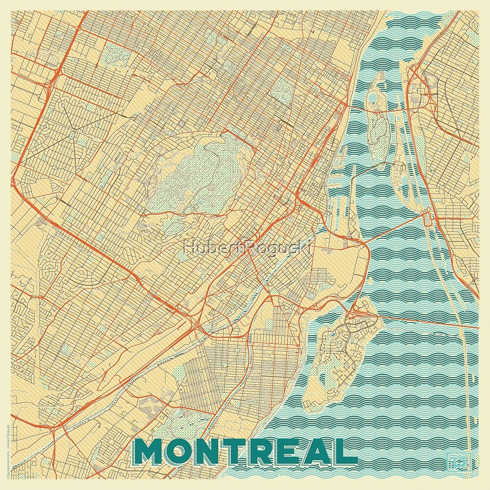 Montreal Map Retro by HubertRoguski