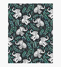 Laughing Baby Elephants – emerald and turquoise Photographic Print