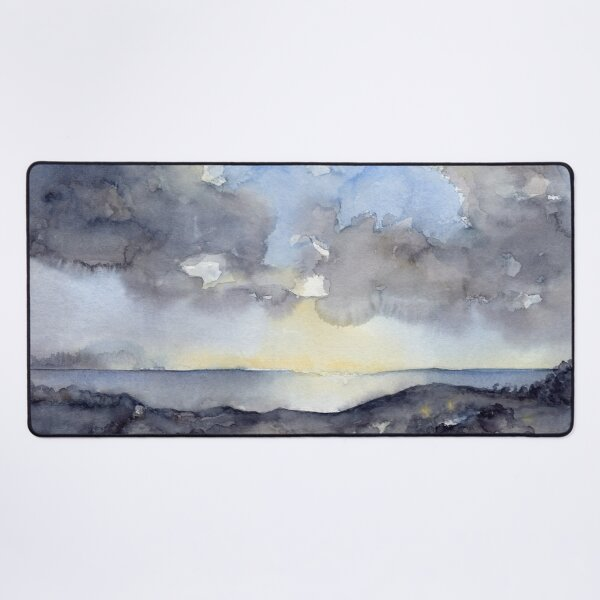 Clouds over the sea, watercolor Desk Mat
