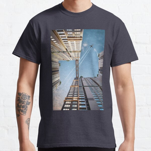 [Graphic] Airplane flying over buildings Classic T-Shirt