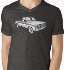 Camiseta para hombre de cuello en v 1975 Ford F100 Explorer Pickup Truck Illustrarion