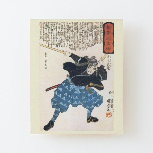 MUSASHI Miyamoto with two Bokken. Japanese, Samurai Warrior. Wood Mounted Print