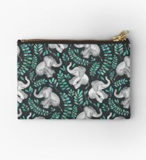Laughing Baby Elephants – emerald and turquoise Studio Pouch