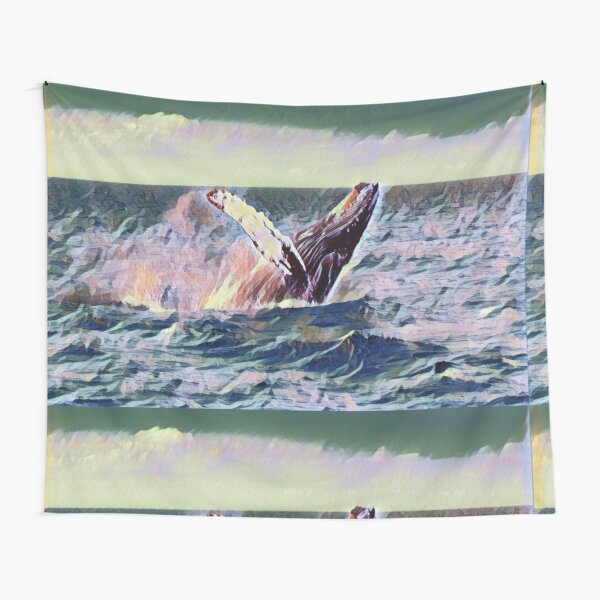 Free Whale On The Ocean Paint Tapestry