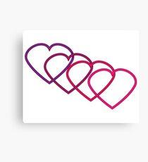 Interlocking Purple Hearts Canvas Print