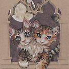 Two Headed Kitten (RedBubble Pet Monster) by justteejay