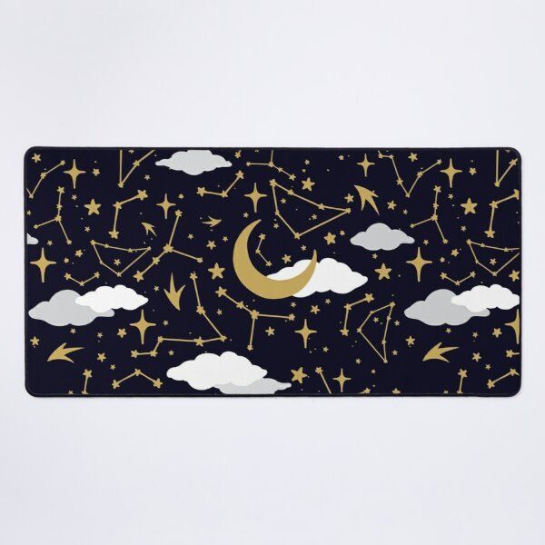 Celestial Stars and Moons in Gold and White Desk Mat