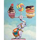 Well-Balanced Diet - whimsical still life painting by LindaAppleArt