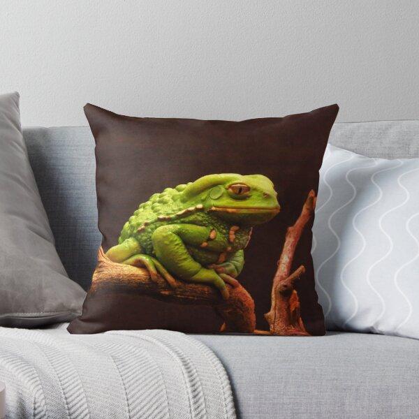 Serious Frog Throw Pillow