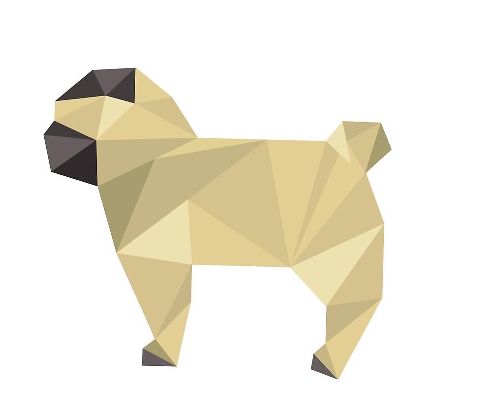 Modern Geometric Faun Pug Puppy Profile \