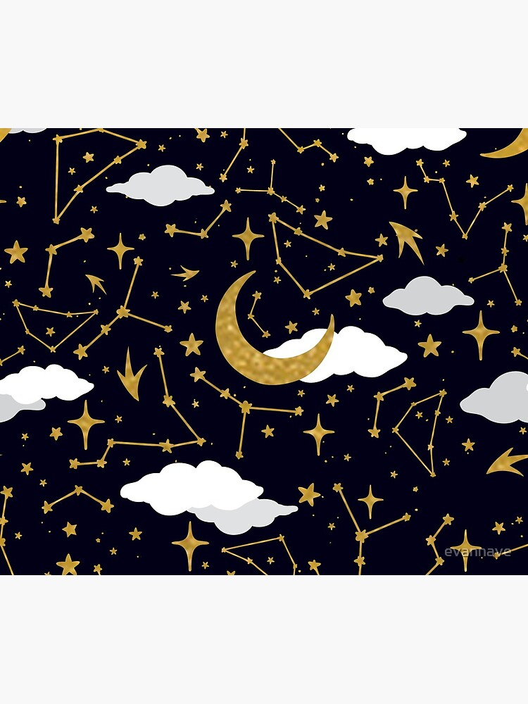 Celestial Stars and Moons in Gold and White by evannave