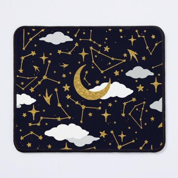 Celestial Stars and Moons in Gold and White Mouse Pad