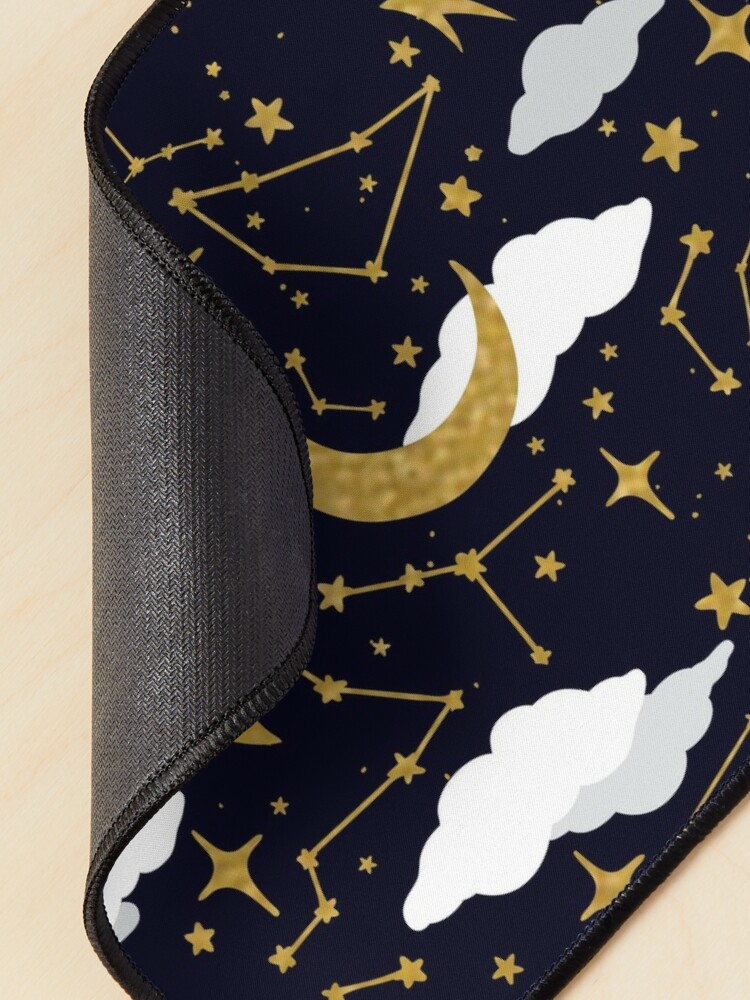 Alternate view of Celestial Stars and Moons in Gold and White Mouse Pad