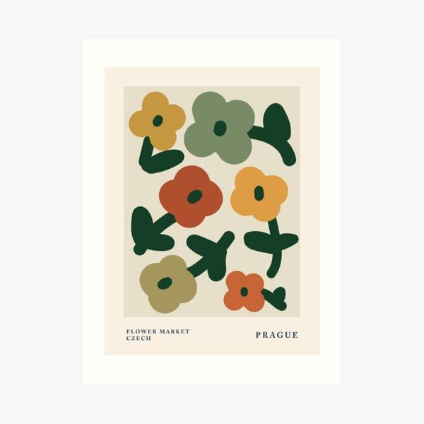 Flower market print, Prague, Posters aesthetic, Abstract flowers, Exhibition poster, Cottagecore, Autumn decor Art Print