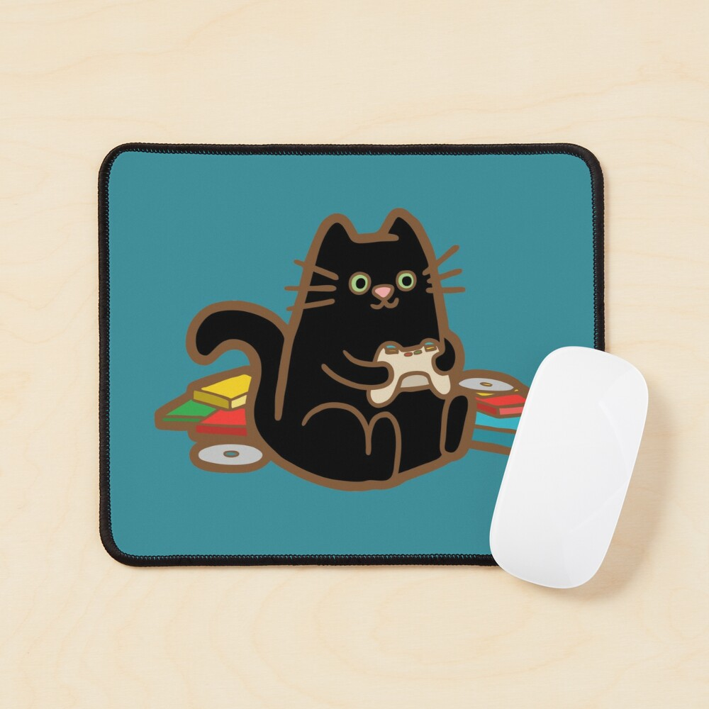Gamer Cat in blue Mouse Pad
