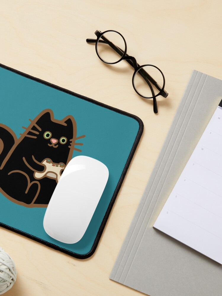 Alternate view of Gamer Cat in blue Mouse Pad