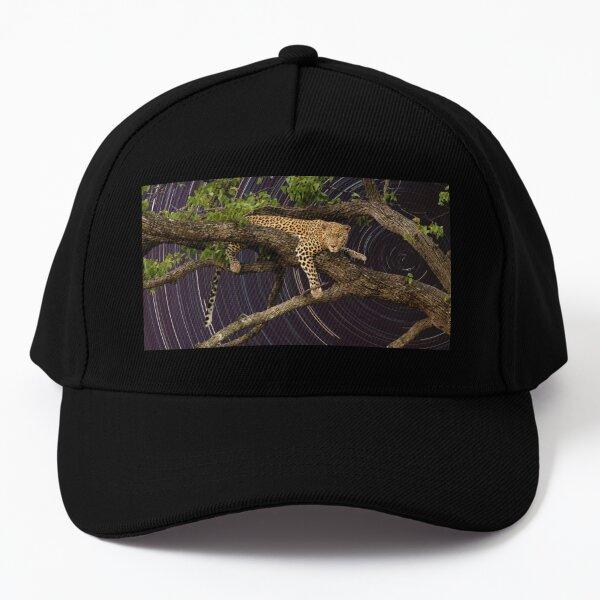 Leopard in tree with startrail Baseball Cap