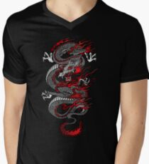 Asiatischer Drache T-Shirt mit V-Ausschnitt