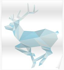 Geometric Ice Stag and Antlers  Poster