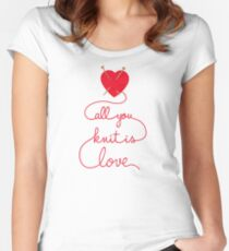 Knitting Products - All You Knit is Love Women's Fitted Scoop T-Shirt