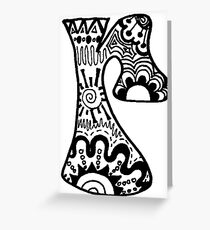 """Hipster Letter """"R"""" Zentangle Greeting Card"""