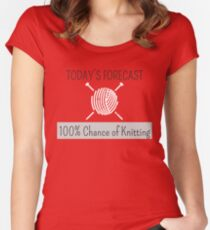 Knitting Products - Today's Forecast: 100% Chance of Knitting Women's Fitted Scoop T-Shirt