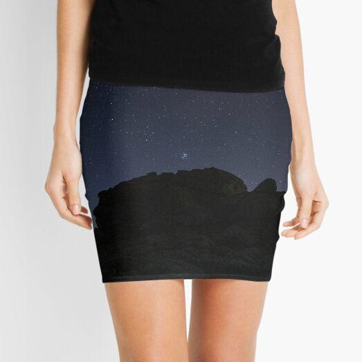 Silhouette Of Mountain Under Starry Night Mini Skirt