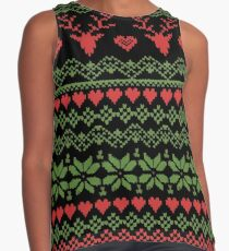 80's Christmas Knitted Sweater Contrast Tank